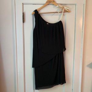 Michael Kors Black One Shoulder Pleated Dress